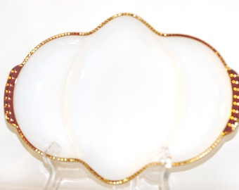 Anchor Hocking Fire King Oven Ware Milk Glass Relish Dish Gold Trim Condiment Tray Vintage 1950s