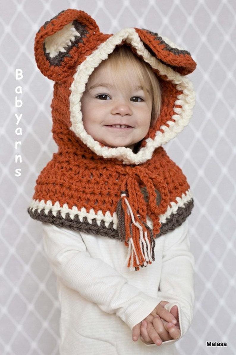 74956aa93928 Childrens FOX Hat Crochet Knit HOODIE Cape Scarf Animal Baby