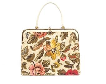 f4f59a0224a3 Vintage 1950s Verdi Mod Tapestry Large Kelly Bag Tote Purse / Large Carpet  Handbag