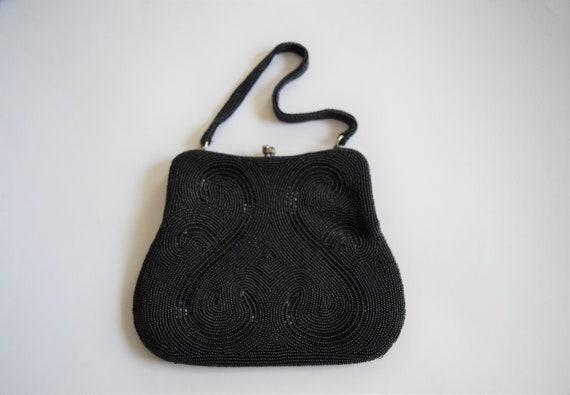 Vintage 1960s Black Beaded Evening Bag Purse - image 9