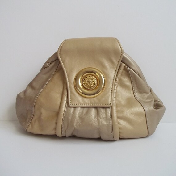 Vintage 1980s Gold Taupe Leather Patchwork Slouch