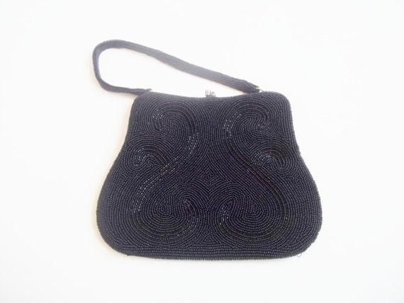 Vintage 1960s Black Beaded Evening Bag Purse - image 3