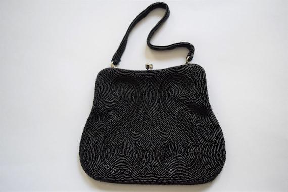 Vintage 1960s Black Beaded Evening Bag Purse - image 1