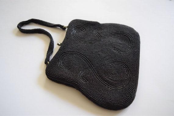 Vintage 1960s Black Beaded Evening Bag Purse - image 2