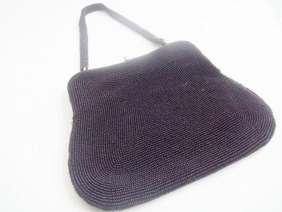 Vintage 1960s Black Beaded Evening Bag Purse - image 5