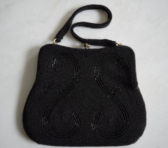 Vintage 1960s Black Beaded Evening Bag Purse - image 4