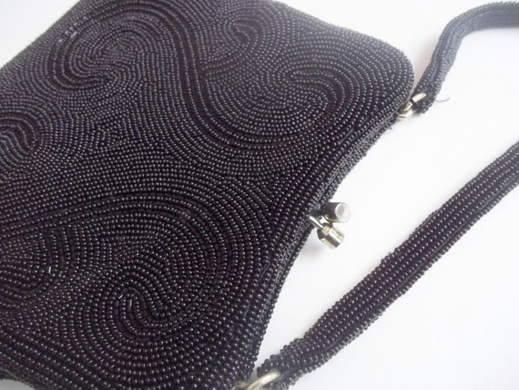 Vintage 1960s Black Beaded Evening Bag Purse - image 6