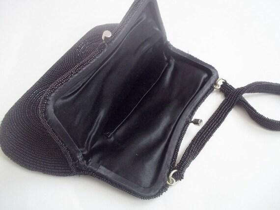 Vintage 1960s Black Beaded Evening Bag Purse - image 8