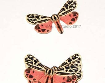 Realistic Paper Moth Cutouts - Rose colored paper moths, Virgin tiger moth - 5 pieces