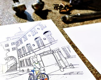 ink drawing postcard / notecard - illustration -  travel - urban - country ~ SWEDEN - wall decor - artwork