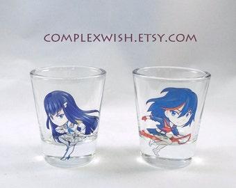 Kill La Kill clear shot glass, Ryuko and Satsuki - 1.5oz