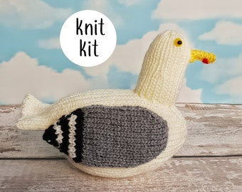Big Jeff the Gull knit kit - seagull knitting pattern kit - knit a cute gull knitting kit gift with free button badge!