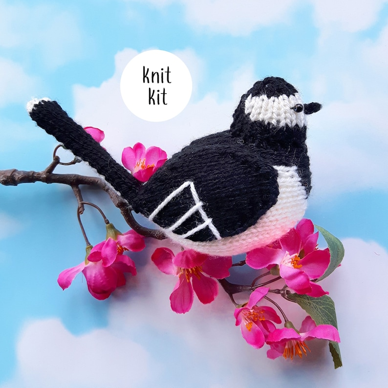 Pied Wagtail knit kit all you need to knit Pippa the Pied image 0