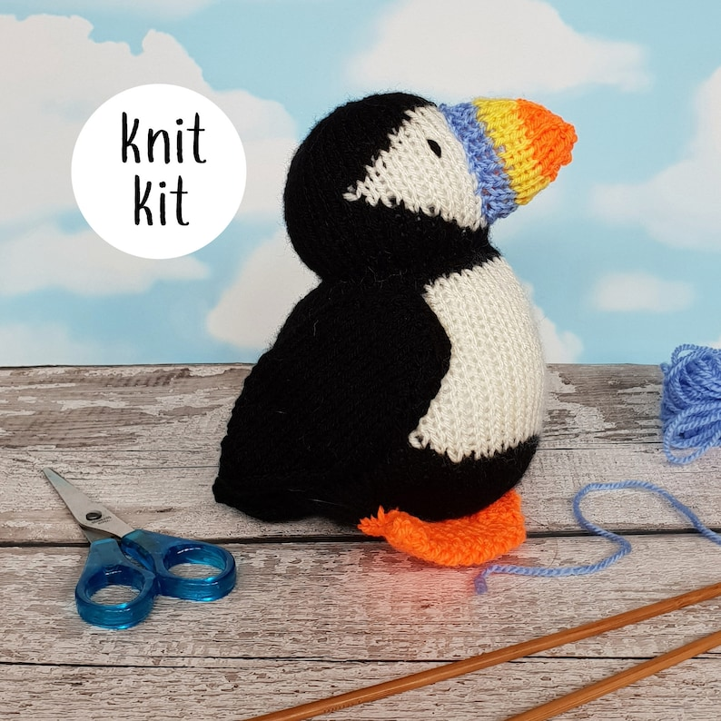Puffin knit kit  all you need to knit a cute puffin  Barry image 0