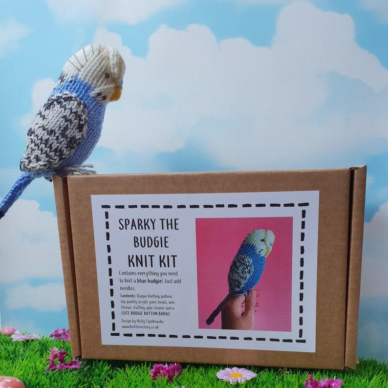 Parakeet knit kit - Sparky the Budgie knit kit - cute parakeet knit kit,  knitting pattern, yarn and button badge! Perfect budgerigar gift