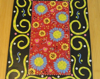 Swirls & Flowers Floorcloth Rug