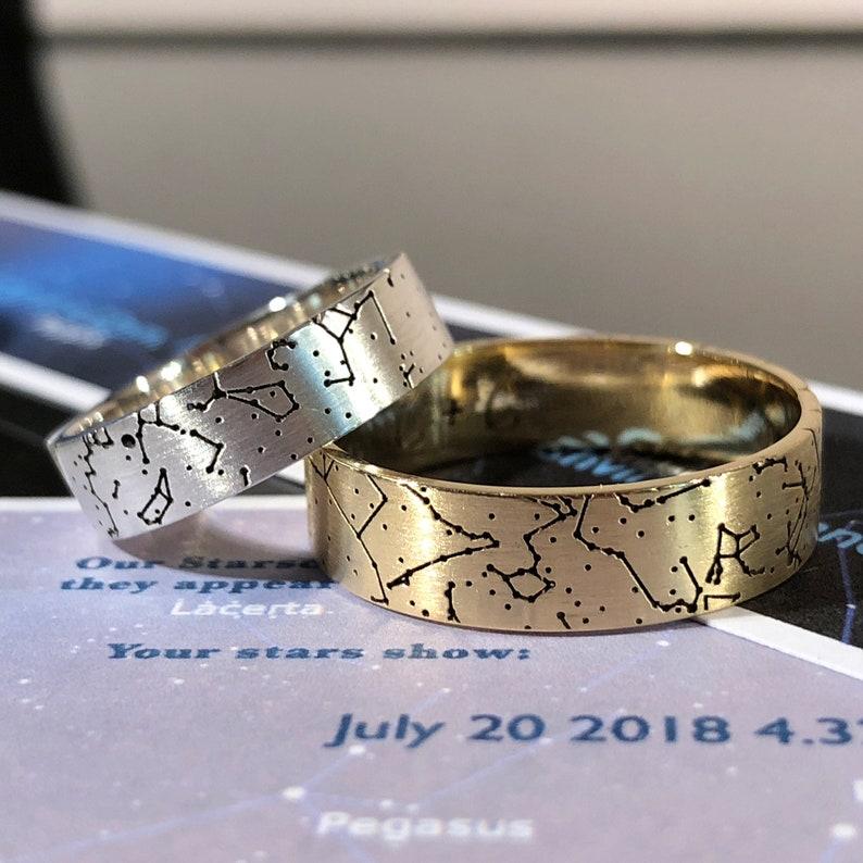 eb63882f8ed89 Unusual Wedding Rings Star Map Partnership Rings | Etsy