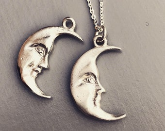 La Luna Sterling Silver Crescent Moon Charm Necklace