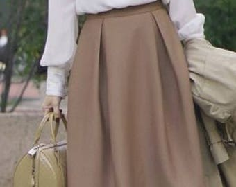 2ca4866a97 Chestnut Fall Pleat Skirt - Poly Wool Washable Wool - Invert Box Pleat Skirt  - Light Brown Dark Tan - Made to Order - Perfect Fit - Bespoke