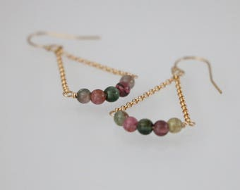 Multi color Tourmaline Gold Filled Earrings, Tourmaline Dangle Earrings, Tourmaline Jewelry, Tourmaline Earrings, October Birthstone