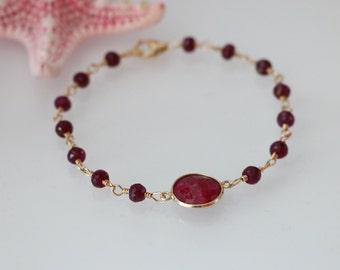 Red Ruby Gold Filled Bracelet, Ruby Bracelet, Ruby Gold Bezel Connector, July Birthstone, Ruby Jewelry, Red Ruby Jewelry, Birthstone Jewelry
