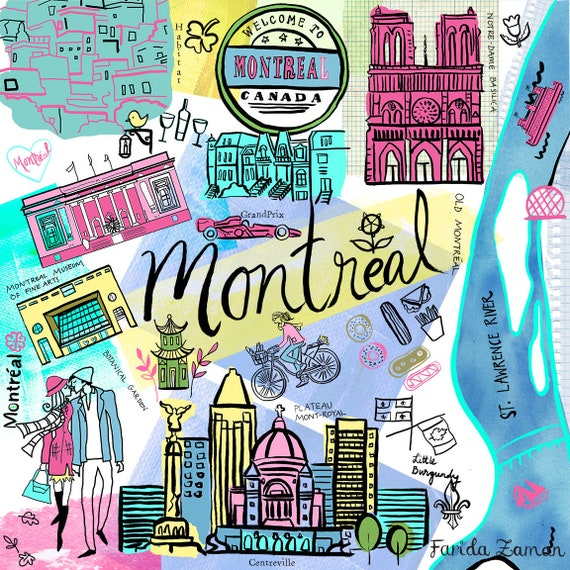 Montreal Canada Quebec Travel Map Wall Art Wall Print Icons Etsy