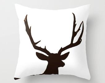 Deer Antler Pillow Throw Pillow, Rustic Home Decor, Cabin Decor