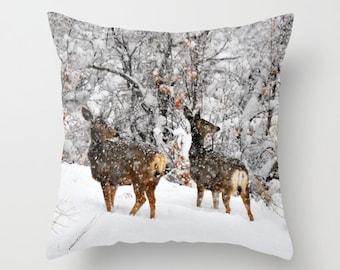 Christmas Does Pillow, Throw Pillow, Deer Cabin Decor