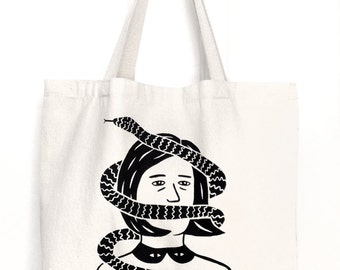 SNAKE FACE  Screen Printed Canvas Tote Bag