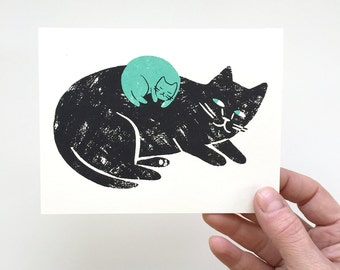 New Baby (Cat) - Screen Printed Card