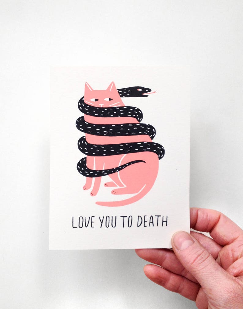 Love You To Death  Screen Printed Card image 0