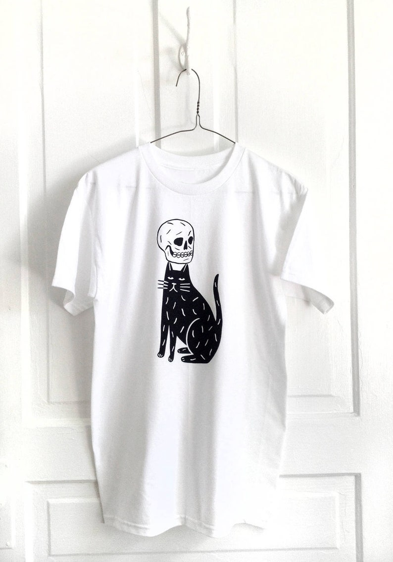 SKULL CAP White  Screen Printed T-Shirt image 0