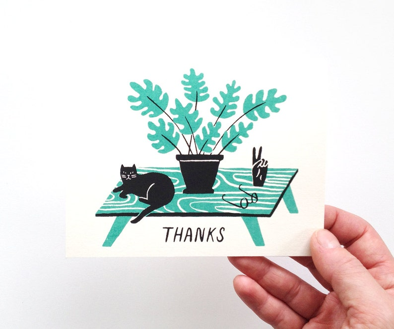 THANKS  Screen Printed Thank You Card image 0