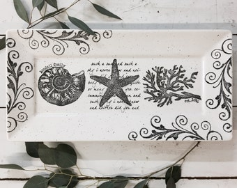 Coastal Rectangle, Personalized Pottery, Beach Wedding Gift, Seashell, Starfish, Coral, Destination Wedding, Beach Theme Wedding Platter