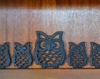 Bon Vintage Cast Iron Owl Trivets   Set Of Five / Fall Woodland Owl Decor /  Cast Metal Kitchen