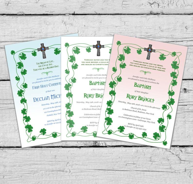 DIY Printable Invitation | Green Shamrock Border Irish Themed Invitation |  Baptism or Communion | | Digital File 5x7 | | Party Invitation