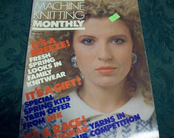 Machine Knitting Monthly March 1990 Back Issue, Machine Knitting Magazine, Knitting Machine Patterns