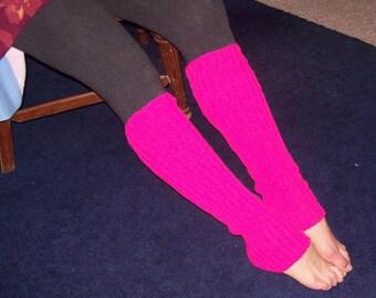Hot Pink Legwarmers, Cherry Boot Socks, Long Exercise Legwarmers, Dance Legwarmers,