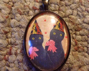 Halloween Kitty Birthday Party Image Oval Glass Gunmetal Necklace
