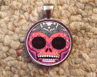 Day of the Dead Sugar Skull Image Pendant Necklace-FREE SHIPPING-