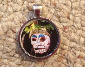Day of the Dead Sugar Skull or Voodoo Image Pendant Necklace-FREE SHIPPING-