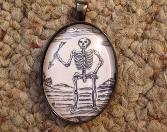Skeleton Image Oval Glass Gunmetal Necklace