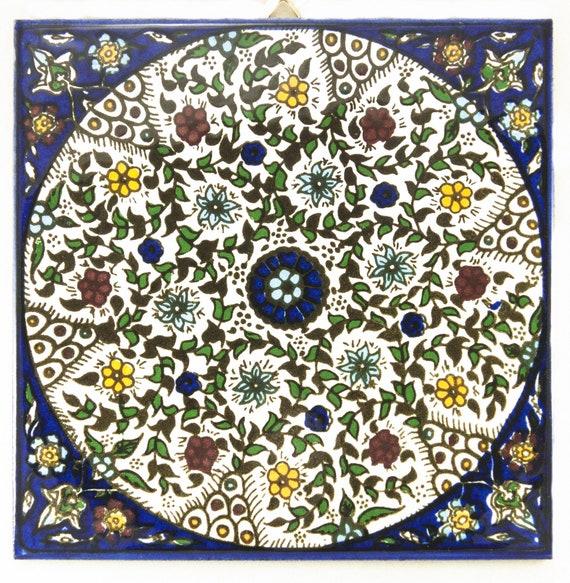 Armenian Ceramic Shalom Tiles Flowers on Blue