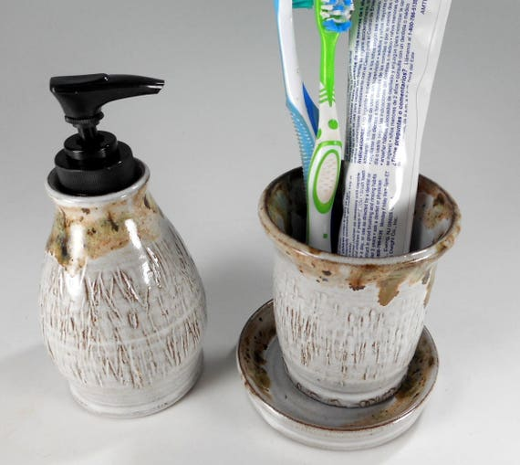 Ceramic Soap Pump Toothbrush Holder Bathroom Accessory Set Etsy