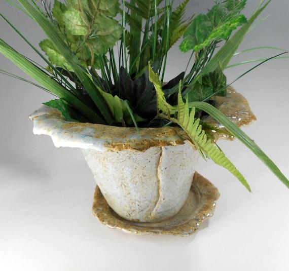 Planteur De Pot De Fleur En Ceramique Avec Soucoupe Art Des Etsy