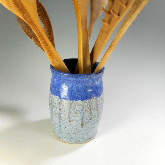 Ceramic kitchen utensil holder, pottery cooking utensils silverware pot,  ceramic home decor vase, pencil jar
