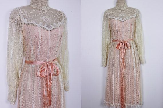 1970's Lace & Pink Prairie Dress ILGWU