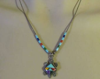 Vintage Sterling Silver Beaded Native American Inlaid Stone Signed Turtle Necklace