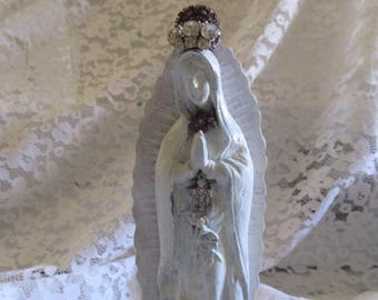 Vintage White Washed Jeweled Madonna and Child Statue