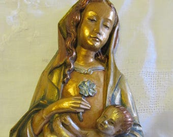 Vintage Madonna And Child Wall Hanging-Religion Catholic